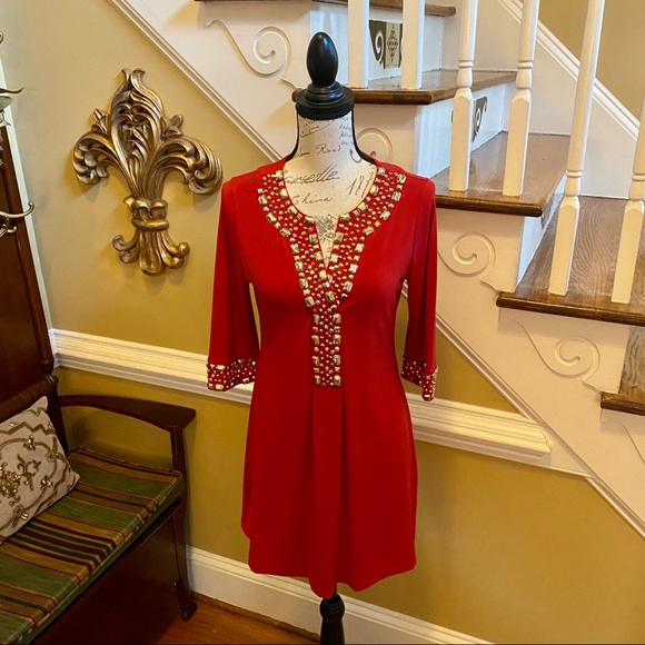 INC International Concepts Dresses & Skirts - INC red dress with gold beading/studs